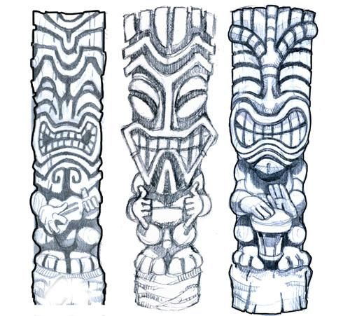 Doing A Tiki Tattoo Design Here S The First Rough