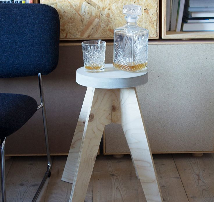 Concrete and wood stool or small side table 0