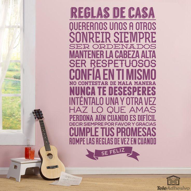 Vinilo decorativo Reglas de la Casa #teleadhesivo #decoracion