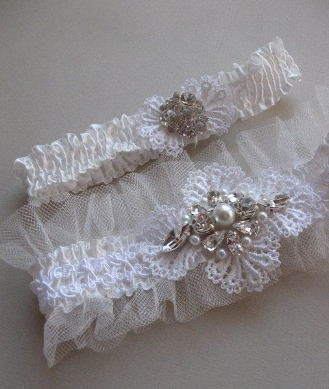 Wedding Garter Set Ivory White Rustic Heirloom By