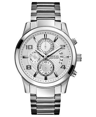 interesting - GUESS Watch, Men's Chronograph Stainless Steel Bracelet 44mm U0075G3 - Men's Watches - Jewelry & Watches - Macy's - $150