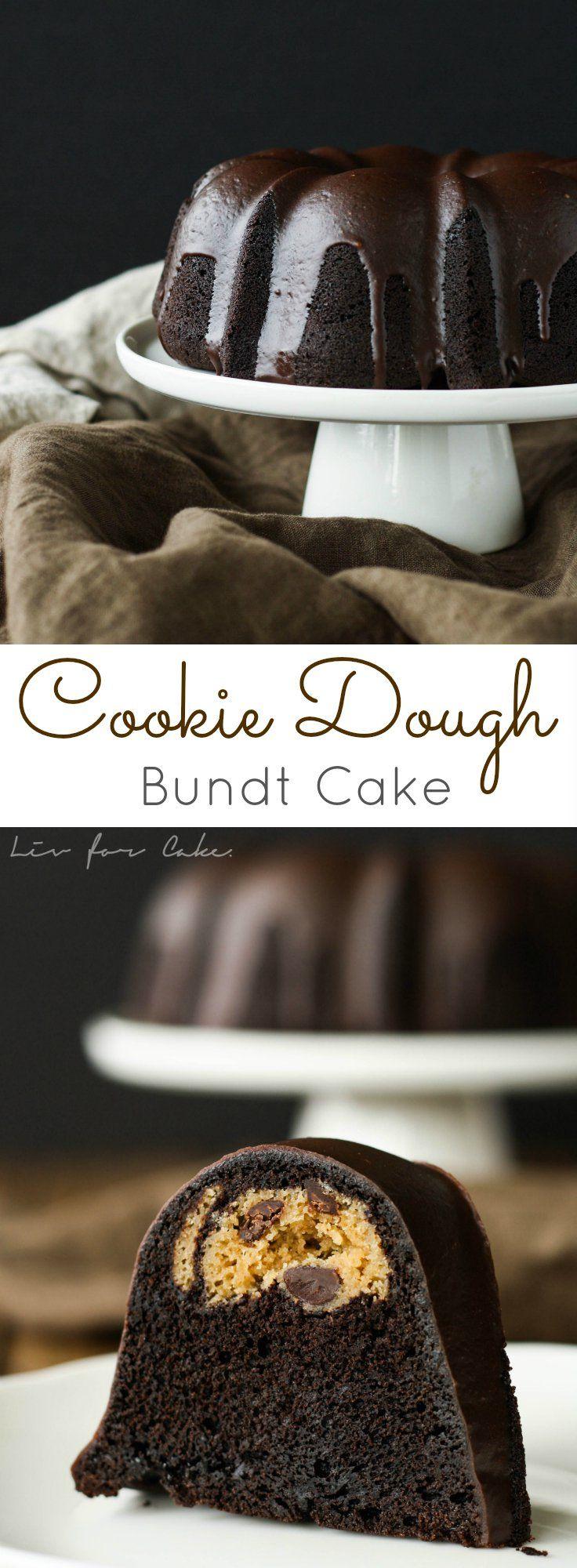 This black cocoa chocolate bundt has a chocolate chip cookie dough surprise inside. #BundtBakers | livforcake.com