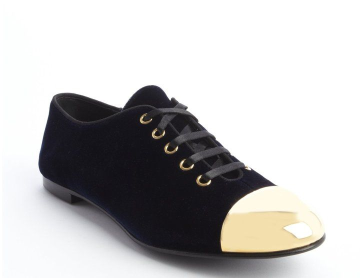 Giuseppe Zanotti blue velour 'Dalila 05' goldtone cap toe lace up sneakers | #Sale Originally $750.00 NOW $235.00 | #Chic Only #Glamour Always
