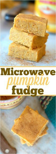 Microwave pumpkin fudge recipe that requires no boiling and tastes delicious! So easy to make and tastes just like a bite of pumpkin pie fudge for the Fall!