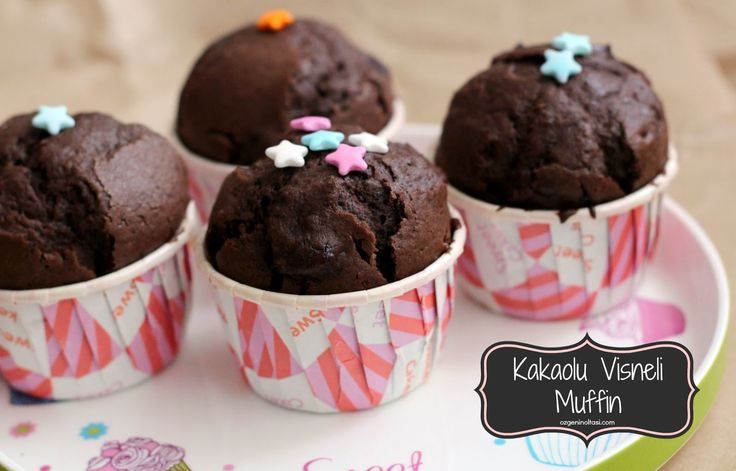 kakaolu muffin, kabarmış muffin, vişneli kakaolu muffin,