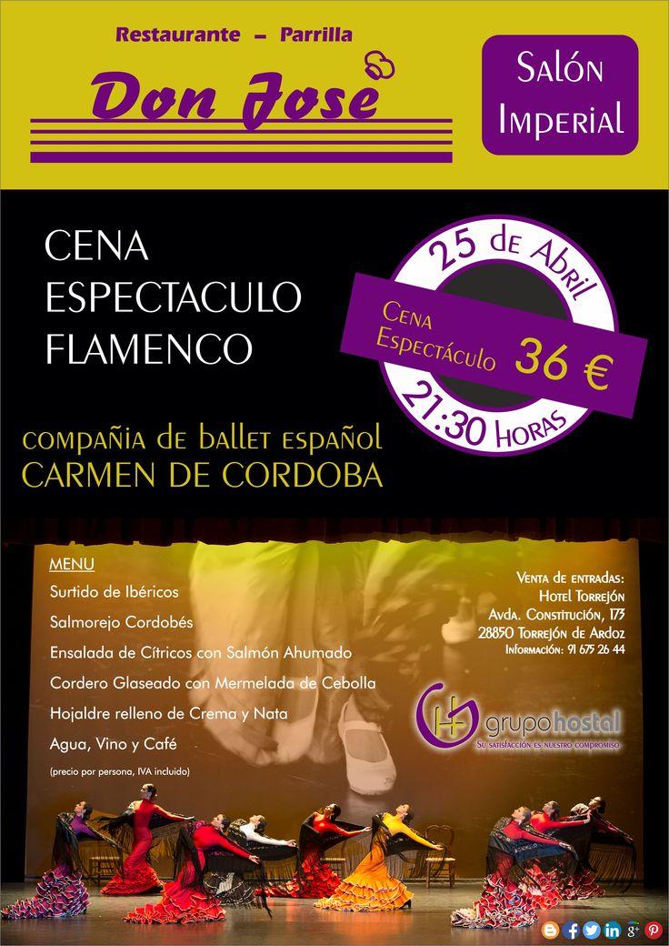 """Tras la buena acogida de la cena que organizamos el pasado febrero, de nuevo organizamos una cena especial amenizada con el espectáculo flamenco de la compañia de ballet clásico """"Carmen de Córdoba"""". ¡¡No te quedes sin tu entrada!!"""