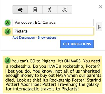 it can actually be located on google maps OMG. Love A Very Potter Musical. see ya. i'm heading to Pigfarts!