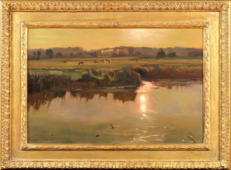 CW Simpson | Watermeadows Guildford | Oil on Canvas | 38 X 28 INCHES | £12,000 | Simpson (1885 - 1971) was a friend of John Ruskin, though he planned to pursue a career in the army, an unfortunate riding accident prevented it. He went to Paris instead and studied art. His talents were immediately recognised and he was exhibited at the Paris Salon. In 1915 he won a gold medal at the Panama International Exposition in San Francisco.