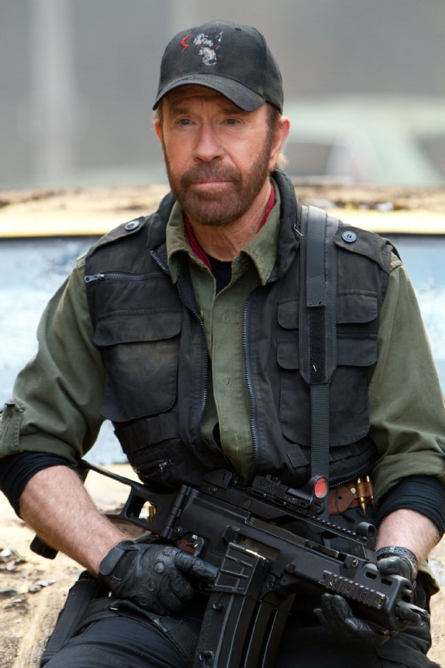 Still of Chuck Norris in The Expendables 2 working hard for Romney.