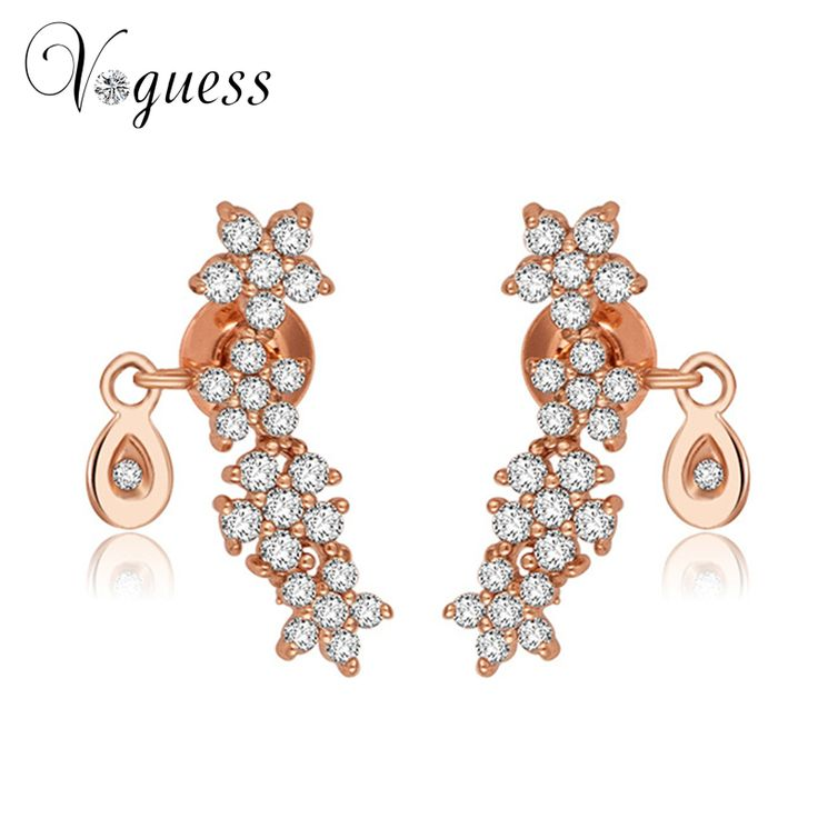 VOGUESS Flower Crystals Stud Earrings for Women Rose Gold Color Fashion Cheap Earrings Jewelry  Female Ear brincos