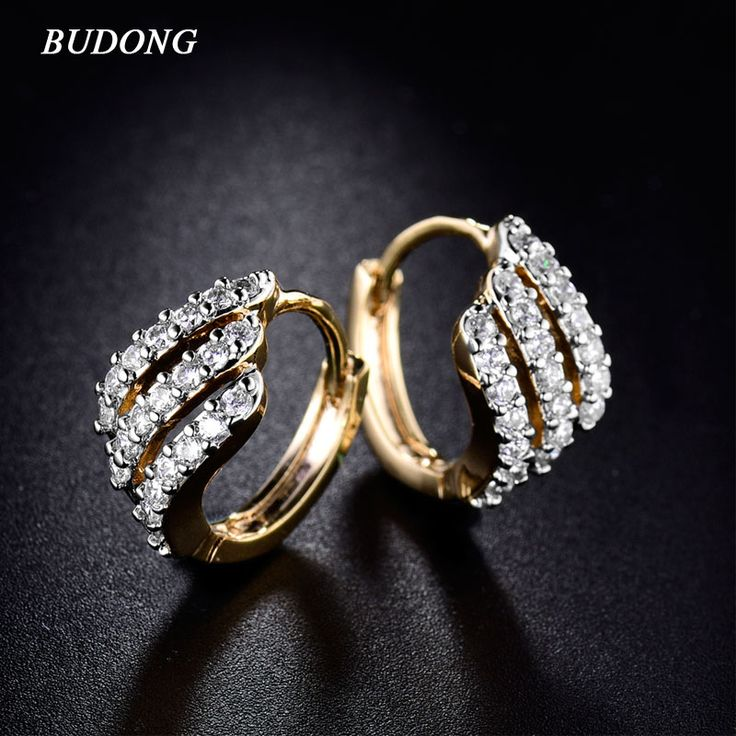 Valentine's Day Gift Three Row Fashion Earing for Women  Gold Plated Hoop Earring White Crystal Zirconia Wedding Jewelry E156