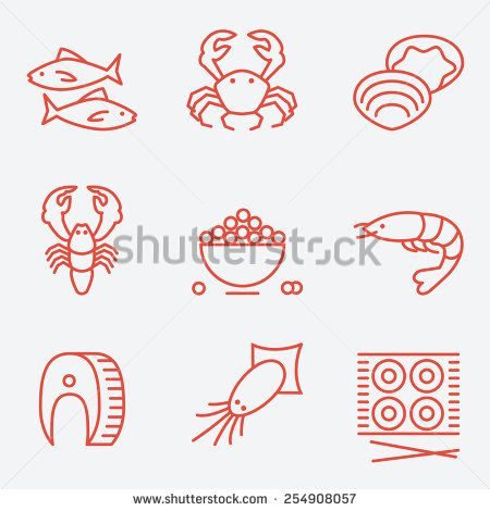 Seafood icons, thin line style, flat design - stock vector