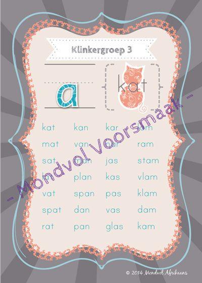 Digitale plakkate oor Klinkergroep 3, beskikbaar op http://teachingresources.co.za/vendors/mondvol-afrikaans/