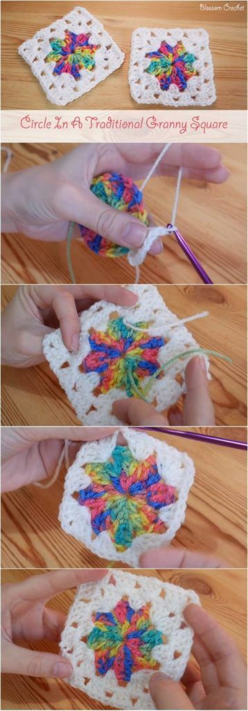 Circle in a Granny Square Easy Make Simple Crochet With Beautiful Colors ! One Of The Beautiful Crochet Ideas I Have Ever Seen. Sharing This Free Tutorial For Crocheters !