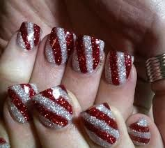 candy canes.... sliver and red shimmer