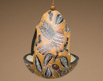 Hand Carved Natural Gourd Bird Feeder -Andean Indian (1)