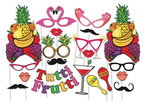 Cocktail Party Photo booth Props Set - 20 Piece PRINTABLE - Fruit hat, RIO decorations, engagement party, wedding Photobooth Props