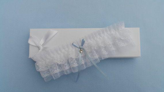 White something blue wedding garter tulle garter by BeuBeuDesign