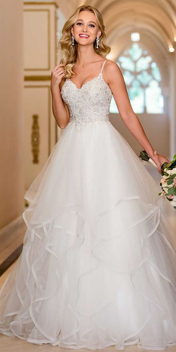 Glamorous Tulle Spaghetti Straps Neckline A-line Wedding Dress With Beaded Lace …