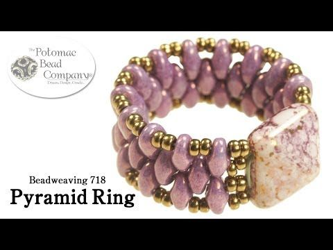 Make a Pyramid Bead Ring - YouTube free tutorial from The Potomac Bead Company. Thousands of free tutorials available on www.youtube.com/.... Supplies from www.TheBeadCo.com www.potomacbeads.com