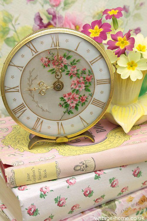 Vintage Home - Pink Blossom Boudoir Clock: www.vintage-home.co.uk - LOVE this clock.