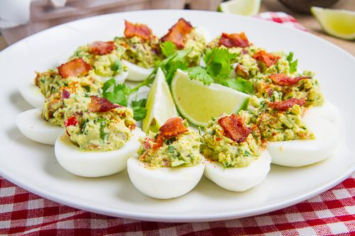 Bacon Guacamole Deviled Eggs. Perfect on your MRC program. For 6 eggs use 4 oz avocado and 2 slices uncured bacon. Makes 3 servings and replace your protein and healthy fat serving. Use green onion instead of purple, or omit. #deviledegg #bacon
