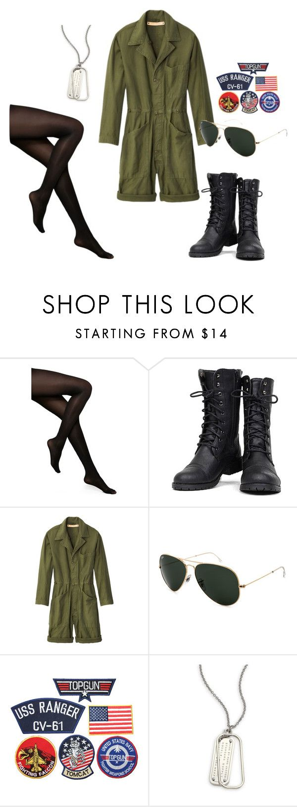 """Halloween Costume Idea- Top Gun"" by jess-str ❤ liked on Polyvore featuring Kate Spade, Nature Breeze, Bliss and Mischief, Ray-Ban and Marc by Marc Jacobs"