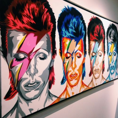 //David Bowie ~ by Mr. Brainwash. January 10 2016, legendary singer David Bowie has died at the age of 69 after battling cancer in secret for 18 months. The star, who released a new album just last week, passed away from the illness surrounded by his family. #art #music