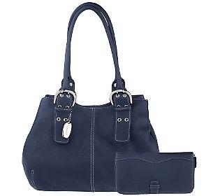 Tignanello Pebble Leather Double Handle Shoulder Bag With Wallet 46