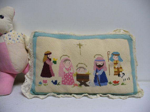 Sweet Vintage Needlepoint Nativity Pillow. via Etsy.