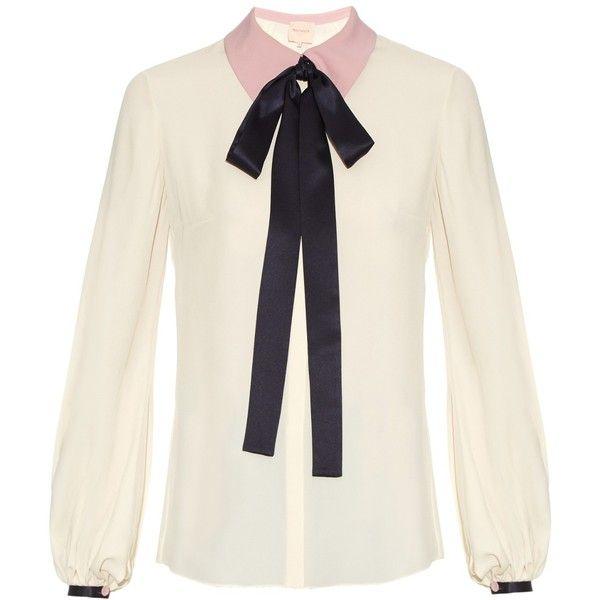Roksanda Kellaway neck-tie crepe blouse (€760) ❤ liked on Polyvore featuring tops, blouses, white tie neck blouse, cream top, neck ties, white top and neck tie blouse