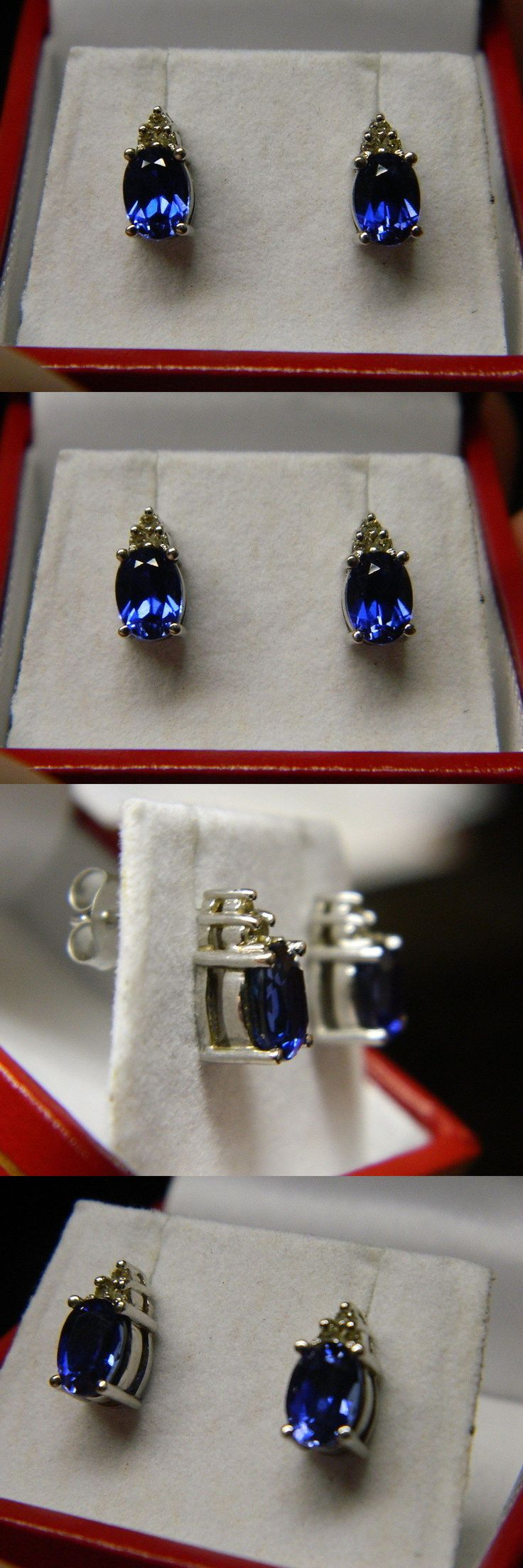 Gemstone 164321: Oval Blue Sapphire And Diamond Earrings 3Ct Tw 14K White Gold BUY IT NOW ONLY: $110.0