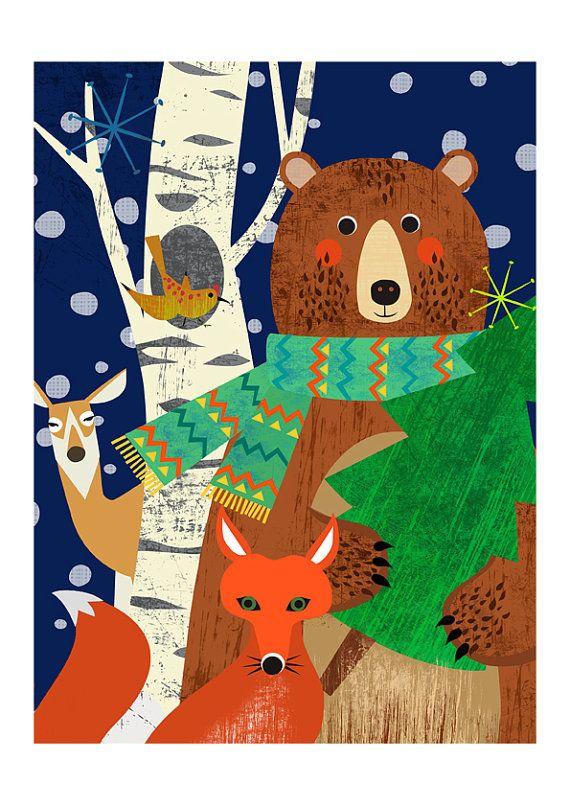Woodland Holiday high quality art print by sevenstar.