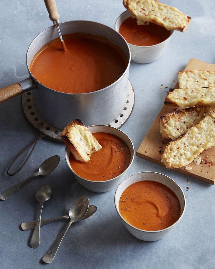 Roasted Tomato Basil Soup with Cheesy Garlic Bread / www.whatsgabycooking.com (@whatsgabycookin)