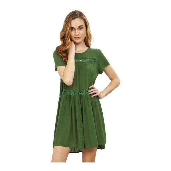 SheIn(sheinside) Army Green Short Sleeve Shift Dress ($16) ❤ liked on Polyvore featuring dresses, green, short sleeve dress, v neck shift dress, skater dress, short-sleeve maxi dresses and short sleeve shift dress