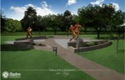 Syracuse University will break ground Tuesday on a mini outdoor shrine featuring statues of Jim Brown, Ernie Davis and Floyd Little.