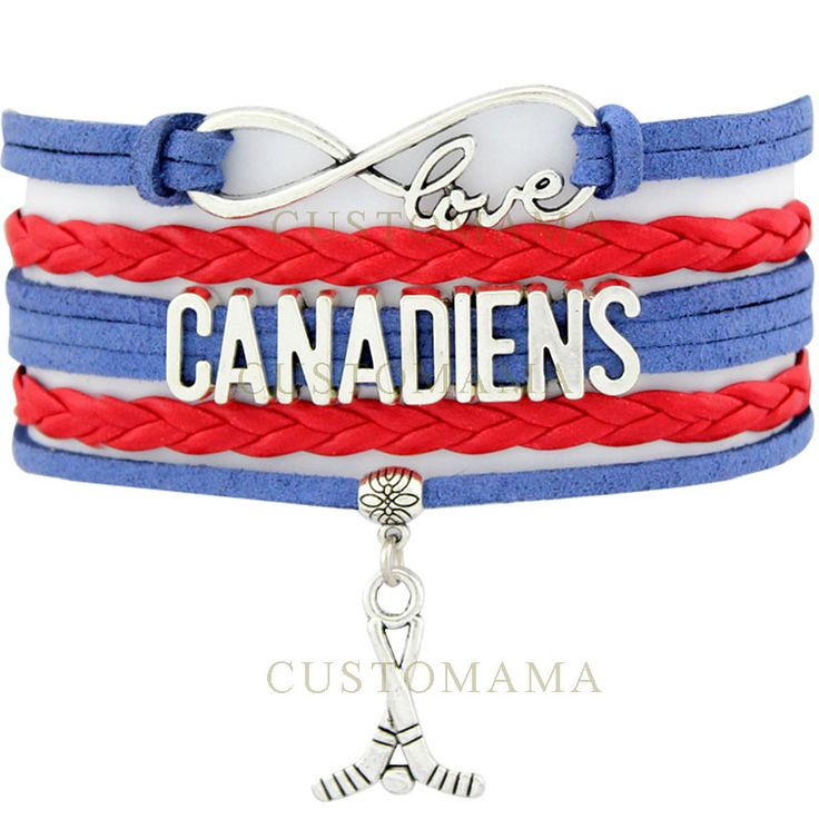 (10 PCS/Lot) Infinity Love Canadiens Hockey Bracelet Montreal Hockey Fans Blue Red Suede & Leather Bracelet Custom Dropshipping