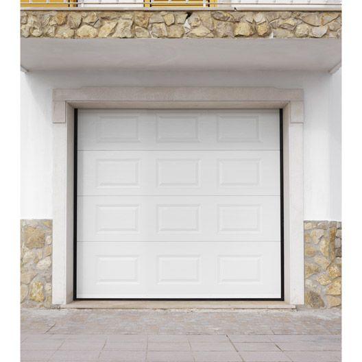 Porte de garage sectionnelle Primo2 PRIMO, acier blanc à cassette, 200 x 240cm #matériaux #menuiserie #bois #travaux #amenagement #magasin #leroymerlinguérande #Guerande #loireatlantique #bricolage #catalogue #maison #france
