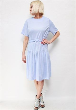 VINTAGE 60'S BEAUTIFUL CUTE PASTEL BLUE MIDI DRESS WITH BELT