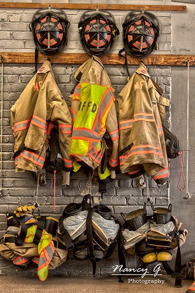 Menomonee Falls WI Firehouse Firefighter equipment gear Fine Art Print artwork to hang in your home and office. by NancyGPhotography on Etsy