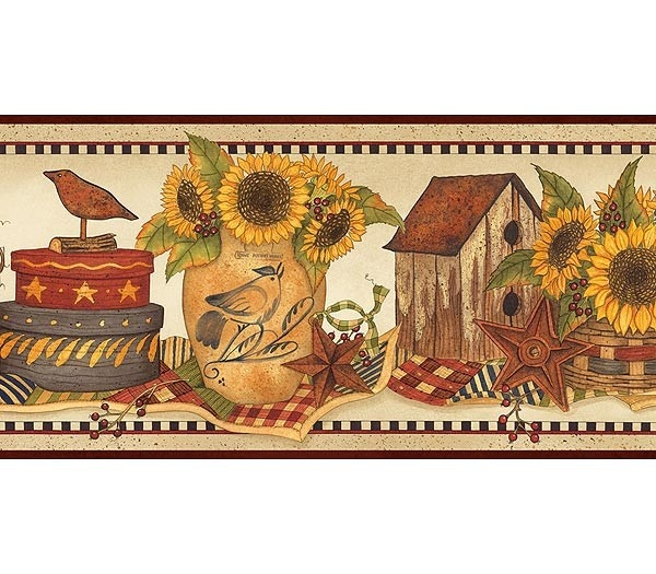 sunflower rooster wall border