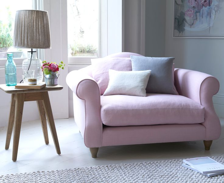 Sloucher love seat in our Pale Rose vintage linen