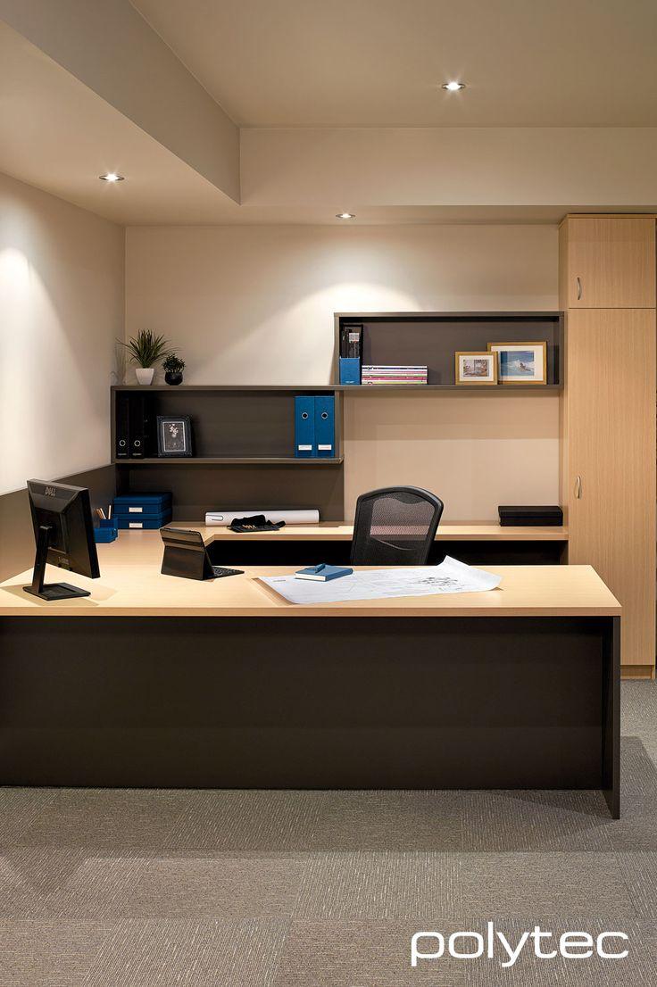 polytec - Desk top in 33mm MELAMINE Tuross Oak Matt with matching 2mm PVC edge. Doors in MELAMINE Tuross Oak Matt. Open Shelving in MELAMINE Graphite Matt.