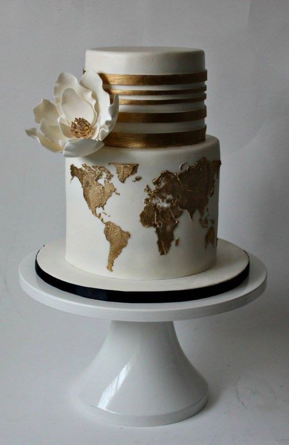 Gold Travle Wedding Cake Ideas / http://www.deerpearlflowers.com/travel-themed-wedding-ideas-youll-want-to-steal/