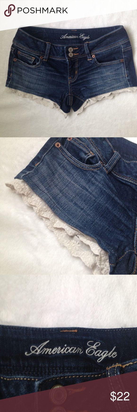 """American Eagle Outfitters denim shorts American Eagle Outfitters denim shorts. Cream color lace detail on bottom. Pretty and flirty. Flat lay measurements. Waist 14"""" American Eagle Outfitters Shorts Jean Shorts"""