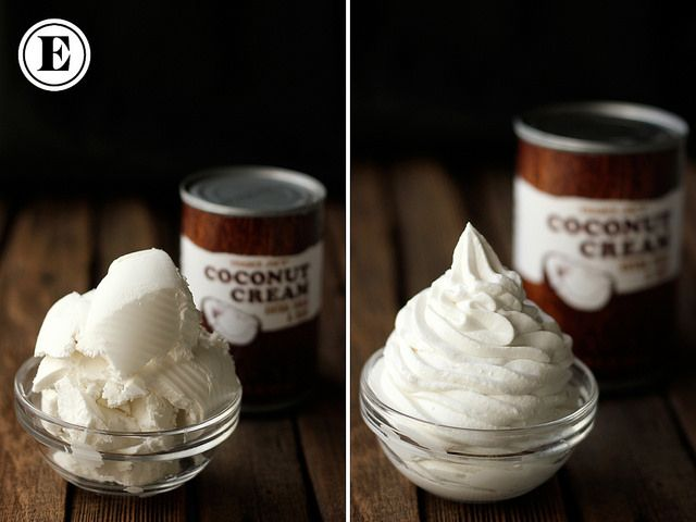 Whip coconut cream with electric beaters, vanilla and sweetener for dairy-free whipped cream/frosting. Article shows which canned coconut works best.