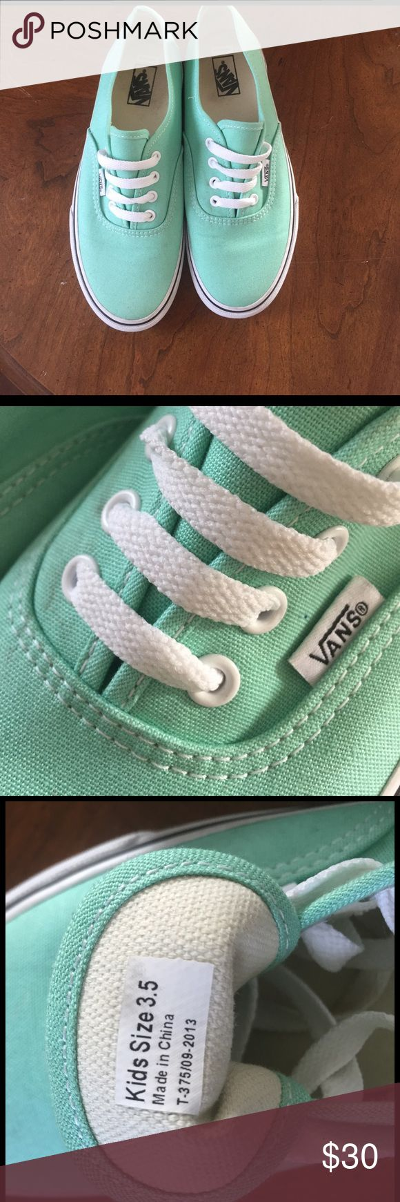 Teal Vans These vans have only been worn a couple times and the color is so cute. The size says kids 3.5 but they actually fit a women's size 6. They're perfect for a cute summer and spring look! #Vans #cute #summer #spring #casual #cheap Vans Shoes Sneakers