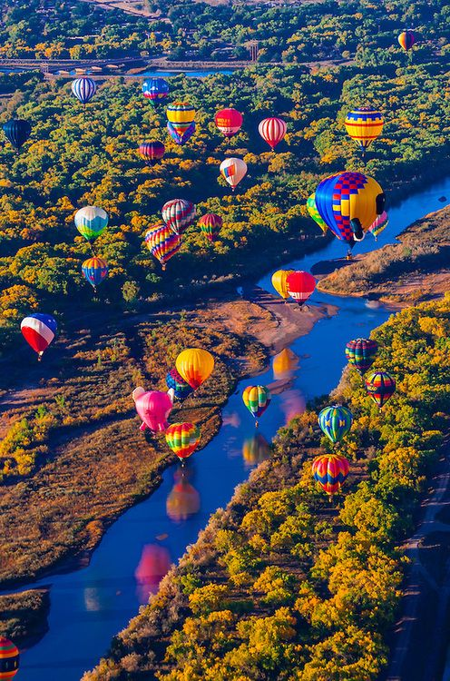 Hot air balloons flying low over the Rio Grande River just after sunrise, Albuqu
