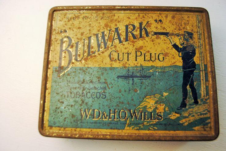 1910 english tobacco tin tobacconia bulmark cut plug stash for Home decor 1910