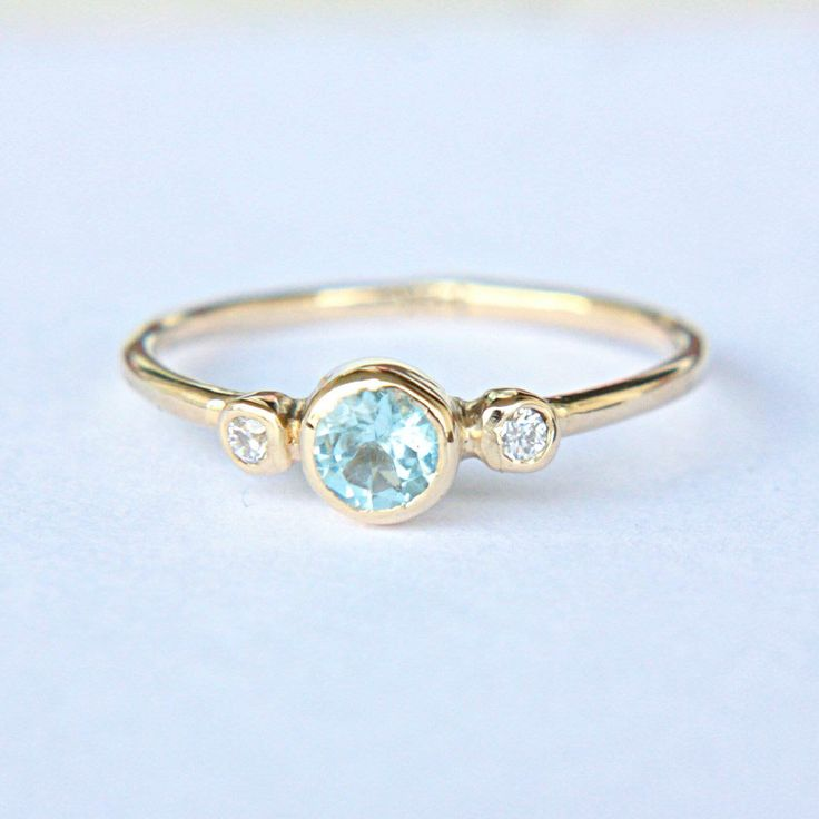 Sweet Aquamarine & White Diamonds in 14k Yellow Gold